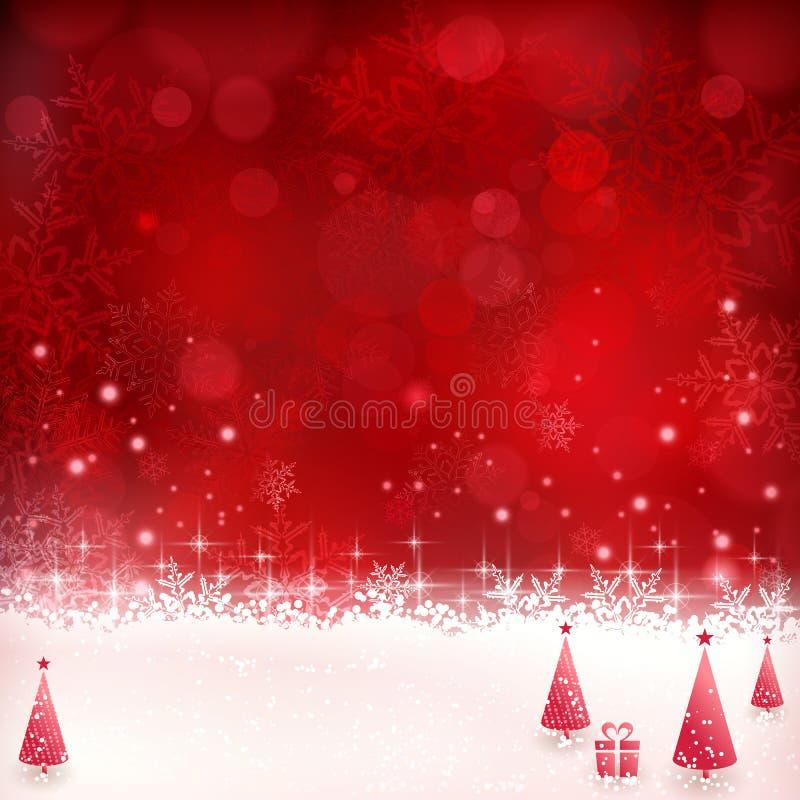 Κόκκινο υπόβαθρο Χριστουγέννων με snowflakes, τα αστέρια και τα Χριστούγεννα TR διανυσματική απεικόνιση