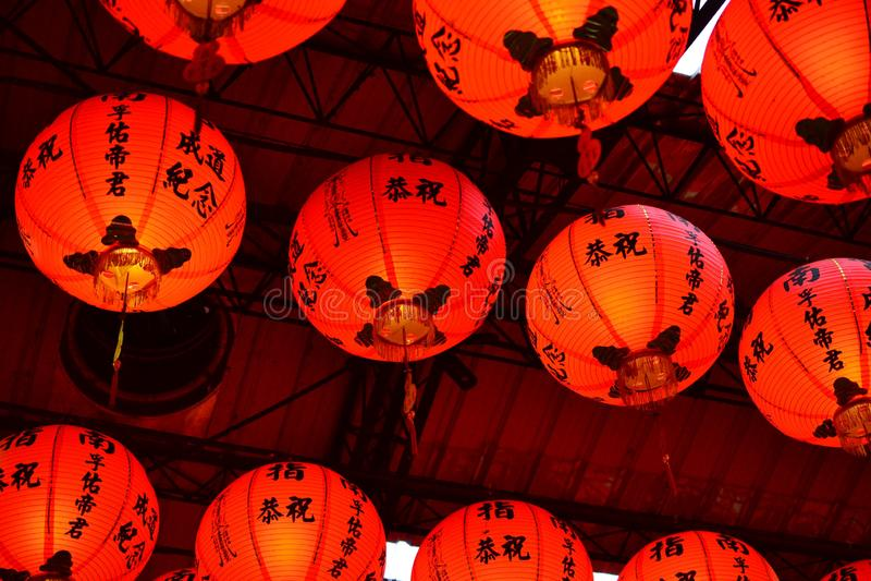 Κόκκινο φανάρι στην Ταϊβάν και την Κίνα, διακόσμηση ναών στοκ φωτογραφία