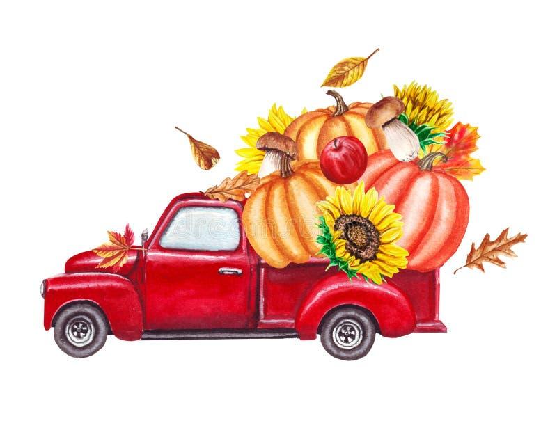 Κόκκινο φορτηγό συγκομιδών με τις κολοκύθες, ηλίανθοι, πεσμένα φύλλα φθινοπώρου Συρμένη απεικόνιση watercolor ημέρας των ευχαριστ απεικόνιση αποθεμάτων