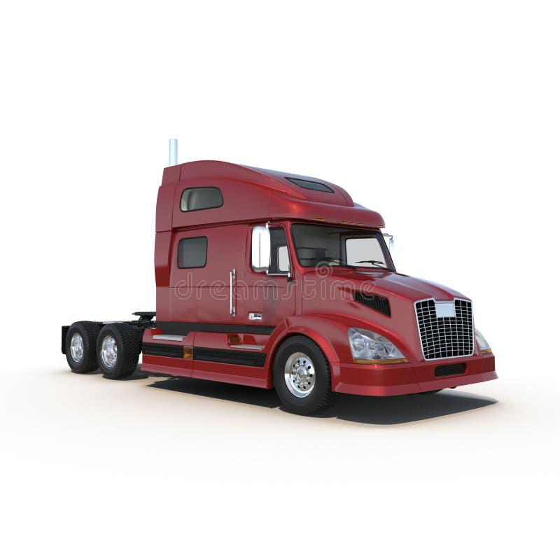 Κόκκινο φορτηγό χωρίς ένα ρυμουλκό στην άσπρη τρισδιάστατη απεικόνιση απεικόνιση αποθεμάτων