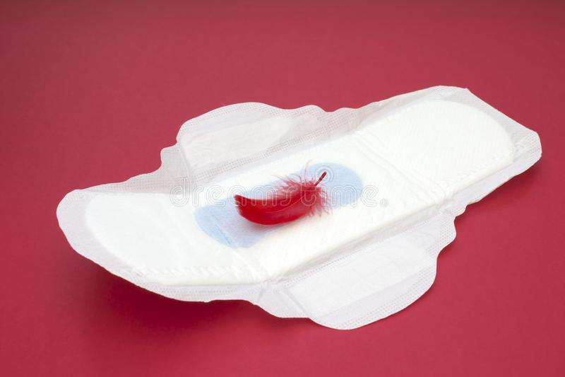 Κόκκινο φτερό, καθημερινό, εμμηνορροϊκό μαξιλάρι γυναικών για την υγιεινή ή περίοδος αίματος Υγειονομικό μαλακό μαξιλάρι εμμηνόρρ στοκ εικόνα