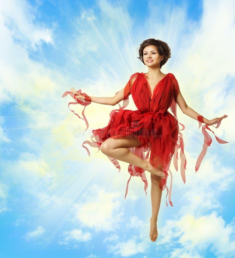 Κόκκινο φόρεμα μόδας χορού γυναικών, πέταγμα Ballerina, χορεύοντας κορίτσι στοκ εικόνα