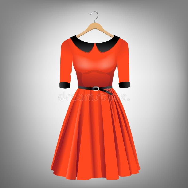 Κόκκινο φόρεμα στην κρεμάστρα ελεύθερη απεικόνιση δικαιώματος