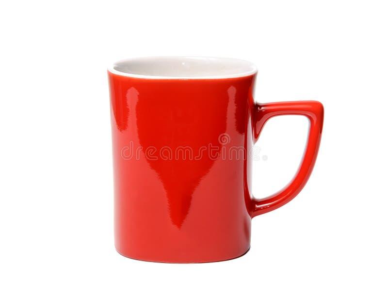Κόκκινο φλυτζάνι στο άσπρο υπόβαθρο που απομονώνεται στοκ εικόνα με δικαίωμα ελεύθερης χρήσης