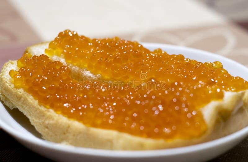 Κόκκινο χαβιάρι ψαριών στο ψωμί απολαύστε το γεύμα σας στοκ φωτογραφίες