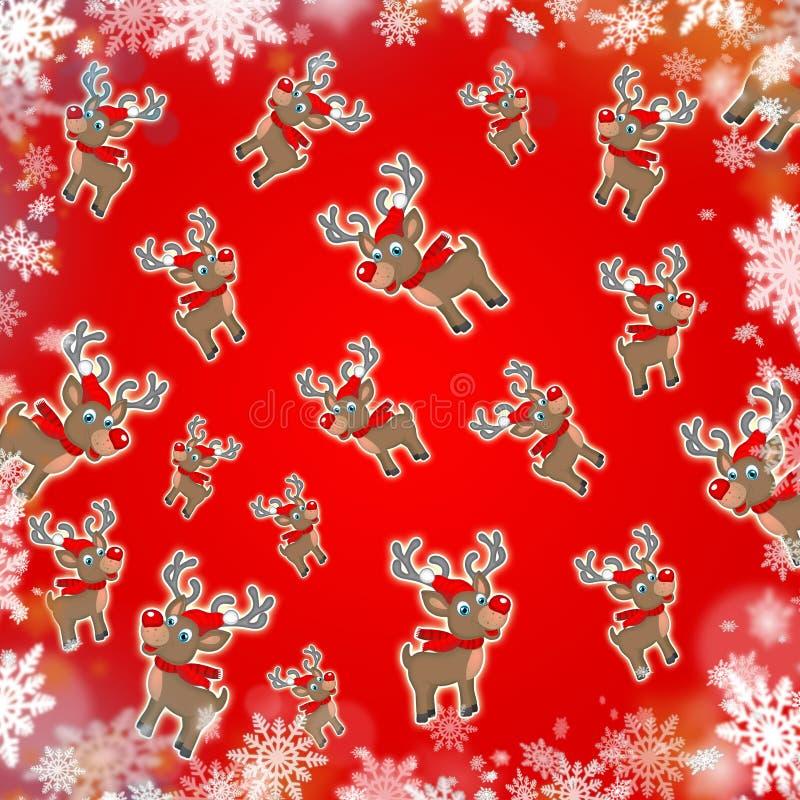 Κόκκινο χαριτωμένο υπόβαθρο ταράνδων Χριστουγέννων απεικόνιση αποθεμάτων