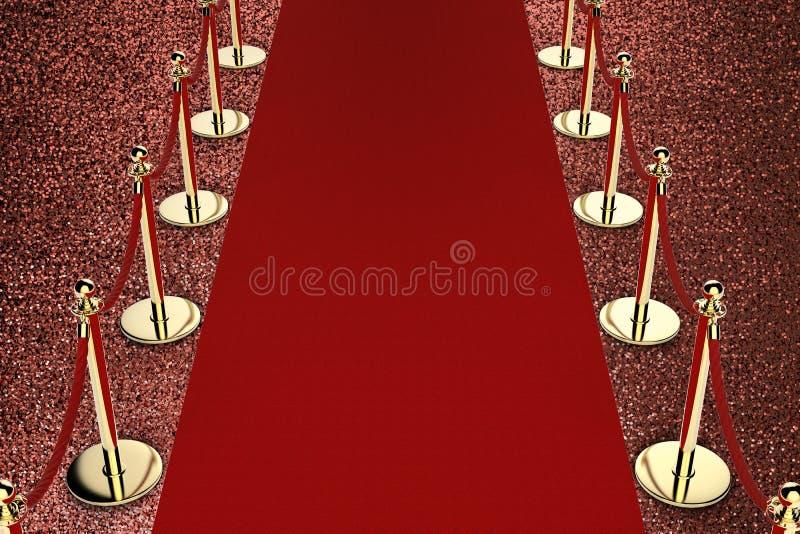 Κόκκινο χαλί με το εμπόδιο σχοινιών στο κόκκινο υπόβαθρο στοκ φωτογραφία