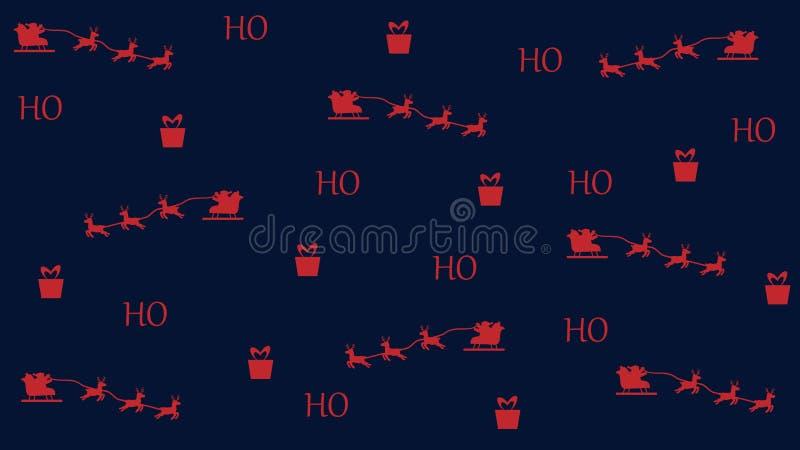 Κόκκινο Χριστουγέννων σχεδίων στο σκούρο μπλε santa υποβάθρου με το δώρο απεικόνιση αποθεμάτων