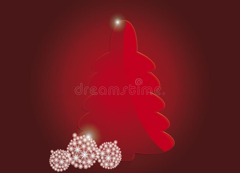 Κόκκινο χριστουγεννιάτικο δέντρο με τις άσπρες σφαίρες απεικόνιση αποθεμάτων
