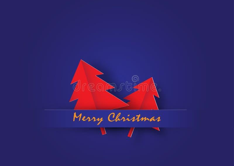 Κόκκινο χριστουγεννιάτικο δέντρο στο μπλε υπόβαθρο διανυσματική απεικόνιση