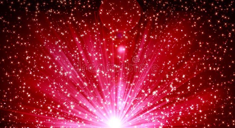 Κόκκινο χριστουγεννιάτικο φόντο, διακοπές, μαγεία, αστέρια, χαρτοπόλεμος, έκπληξη, αναλαμπή, φωτεινό διανυσματική απεικόνιση