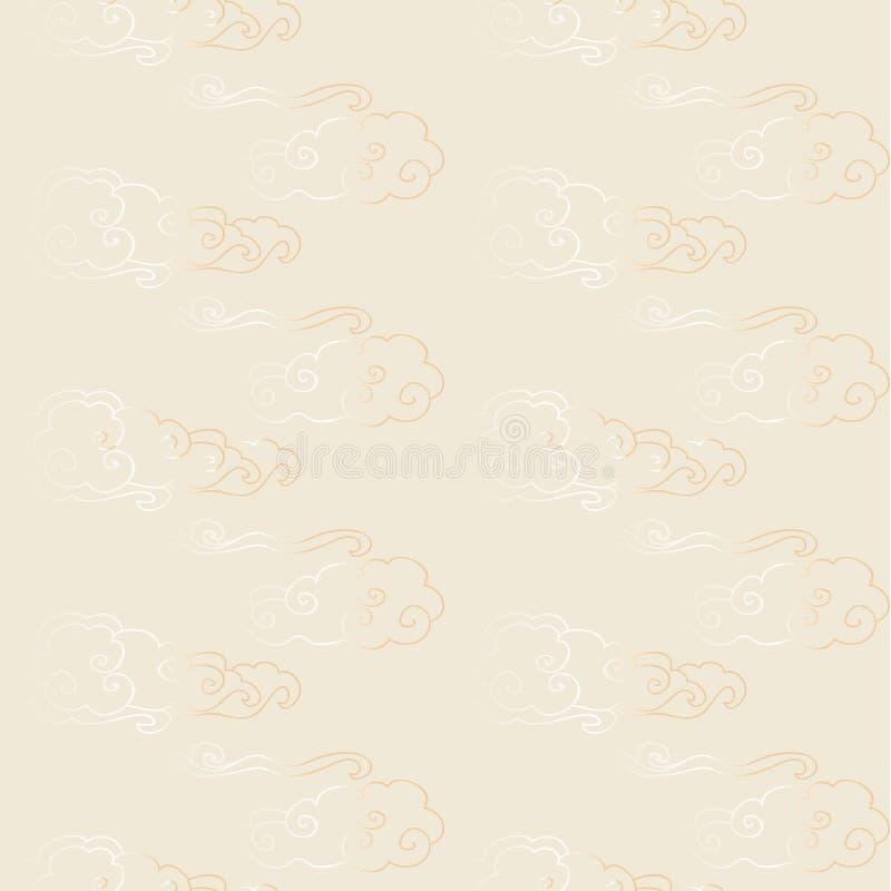 Κόκκινο χρυσό άνευ ραφής κινεζικό σχέδιο διανυσματική απεικόνιση