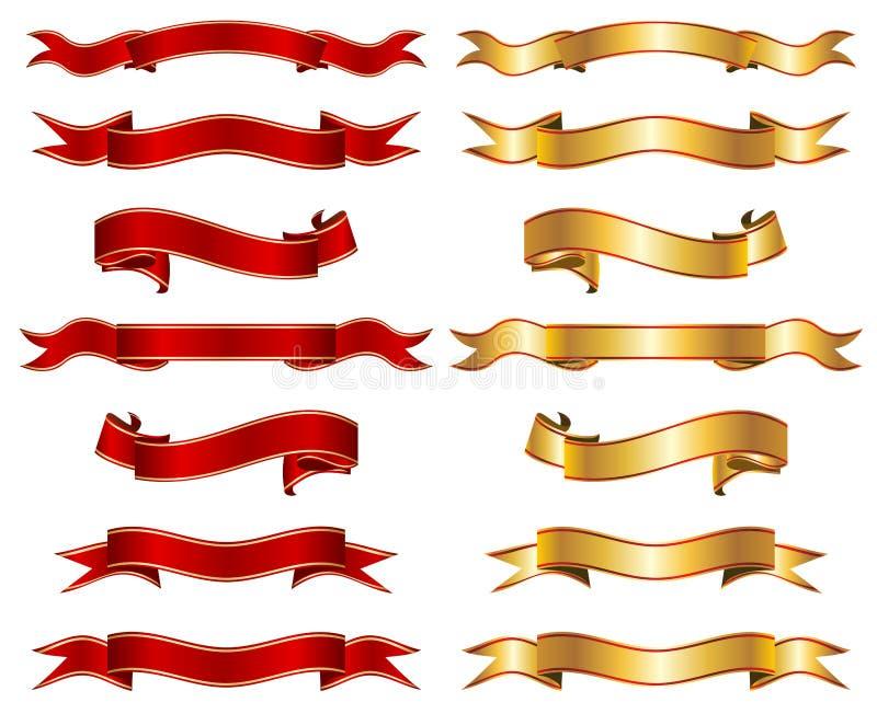 Κόκκινο & χρυσό κορδελλών σύνολο συλλογής εμβλημάτων φανταχτερό διανυσματική απεικόνιση