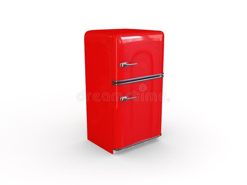 κόκκινο ψυγείο αναδρομ&iot στοκ φωτογραφία με δικαίωμα ελεύθερης χρήσης