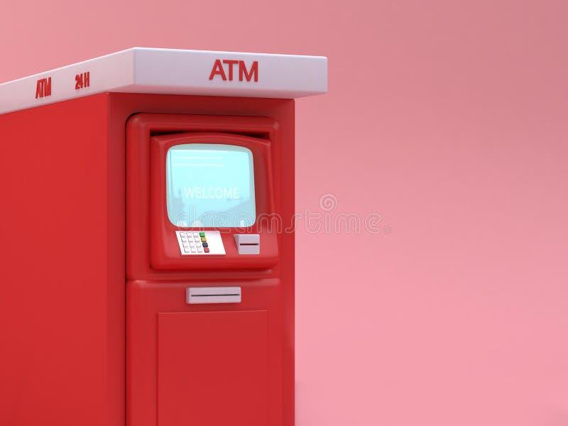 Κόκκινο ύφος κινούμενων σχεδίων του ATM τρισδιάστατο δίνοντας ελεύθερη απεικόνιση δικαιώματος