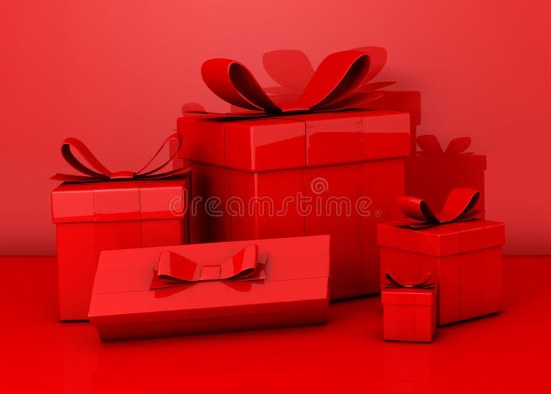 κόκκινο δώρων κιβωτίων ελεύθερη απεικόνιση δικαιώματος
