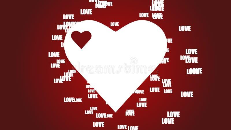 Κόκκινο bacground έννοιας ημέρας βαλεντίνων με το επιπλέον κείμενο αγάπης και τη μεγάλη άσπρη καρδιά απεικόνιση αποθεμάτων