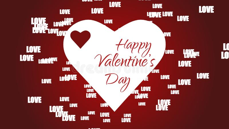 Κόκκινο bacground έννοιας ημέρας βαλεντίνων με το επιπλέον κείμενο αγάπης και τη μεγάλη άσπρη καρδιά διανυσματική απεικόνιση
