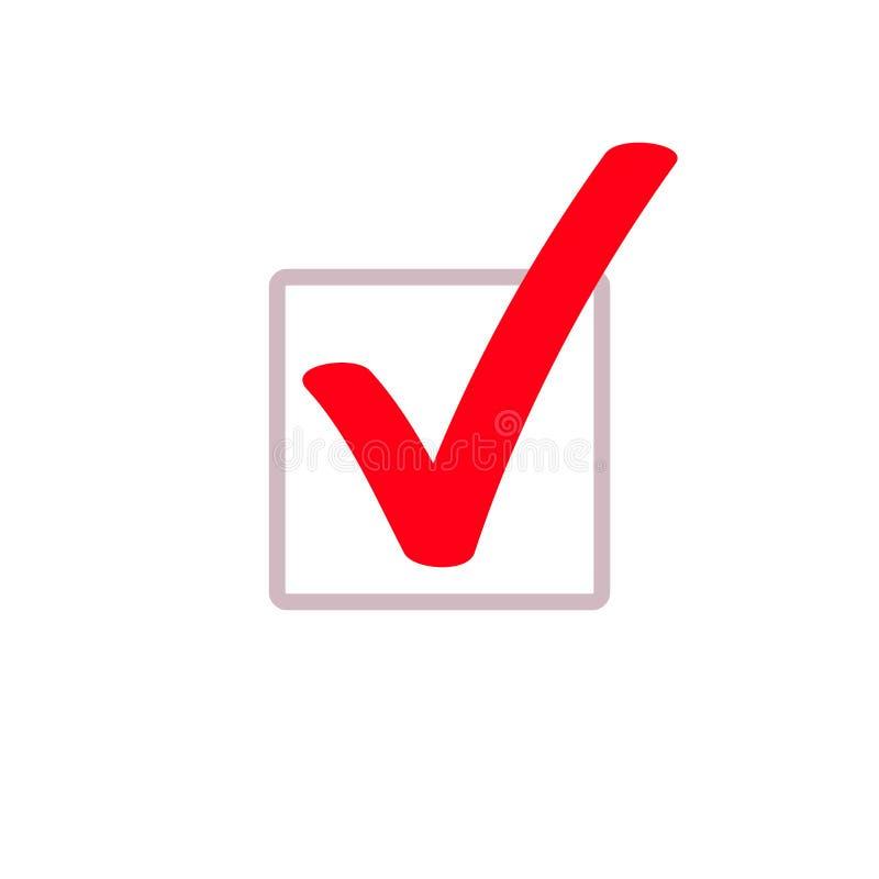 Κόκκινο checkmark δεικτών κροτώνων διανυσματικό τετραγωνικό εικονίδιο κιβωτίων διανυσματική απεικόνιση