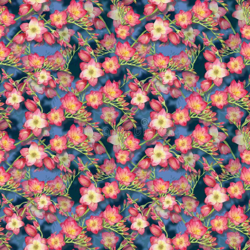 Κόκκινο freesia λουλουδιών, όμορφος κλάδος ανθοδεσμών σε ένα μπλε υπόβαθρο, άνευ ραφής τροπική απεικόνιση watercolor σχεδίων στοκ φωτογραφία με δικαίωμα ελεύθερης χρήσης