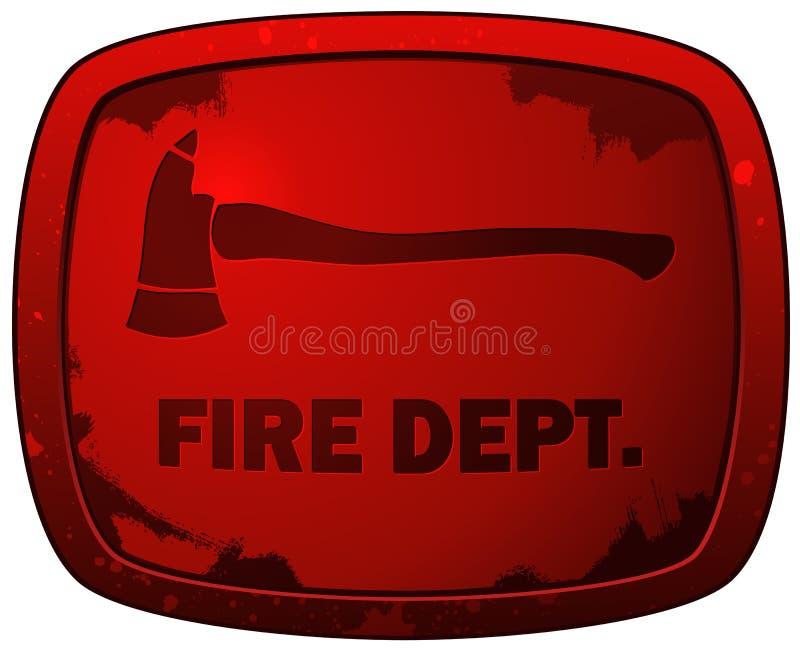 Κόκκινο Grunge πυρκαγιάς σημάδι πιάτων διαμερίσματος απεικόνιση αποθεμάτων