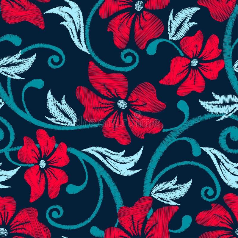 Κόκκινο hibiscus τροπικό floral άνευ ραφής σχέδιο κεντητικής διανυσματική απεικόνιση
