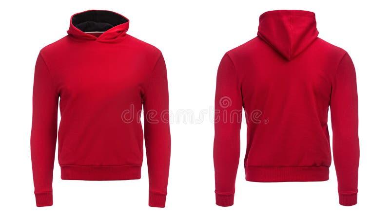 Κόκκινο hoodie, πρότυπο μπλουζών, που απομονώνεται στο άσπρο υπόβαθρο στοκ φωτογραφίες με δικαίωμα ελεύθερης χρήσης