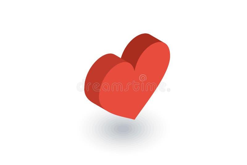 Κόκκινο isometric επίπεδο εικονίδιο μορφής καρδιών τρισδιάστατο διάνυσμα ελεύθερη απεικόνιση δικαιώματος