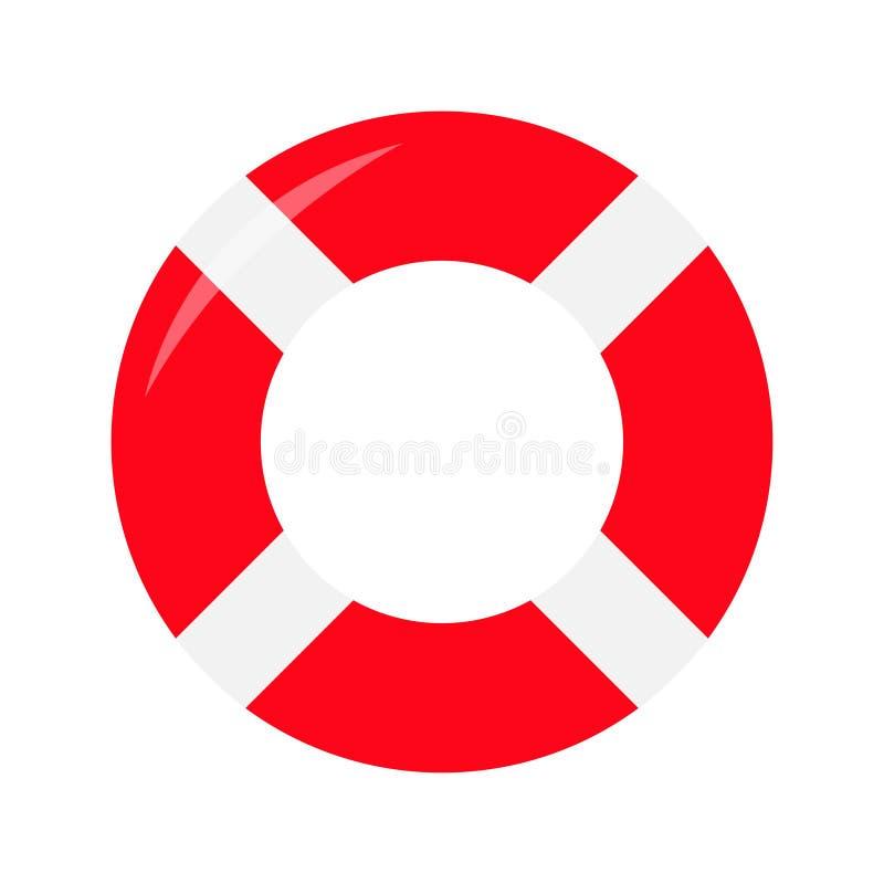 Κόκκινο lifebuoy εικονίδιο δαχτυλιδιών Σημαντήρας ζωής γύρω από τον κύκλο για το εν πλω ωκεάνιο νερό ασφάλειας Επίπεδο deisgn Άσπ απεικόνιση αποθεμάτων