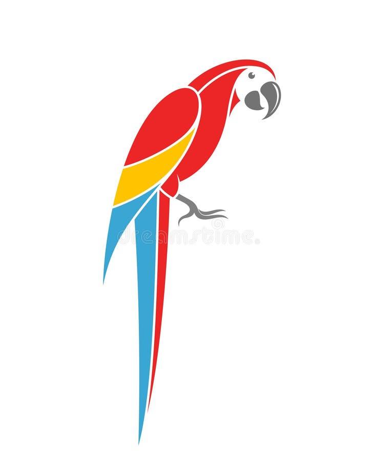 Κόκκινο Macaw Τροπικός παπαγάλος στο άσπρο υπόβαθρο διανυσματική απεικόνιση