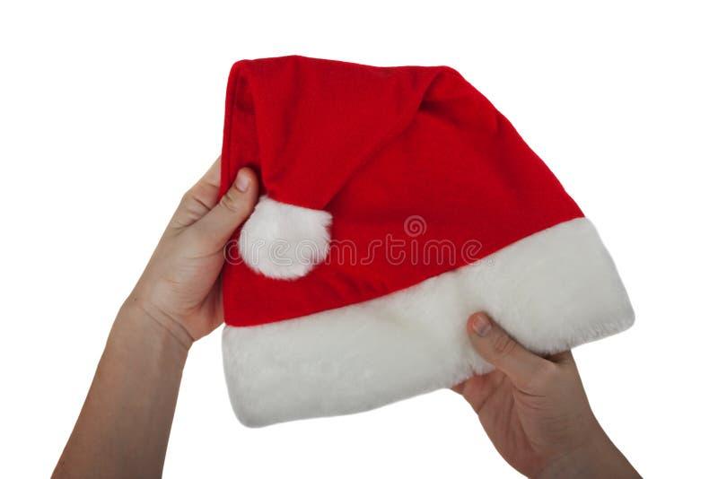 κόκκινο santa καπέλων στοκ εικόνα με δικαίωμα ελεύθερης χρήσης