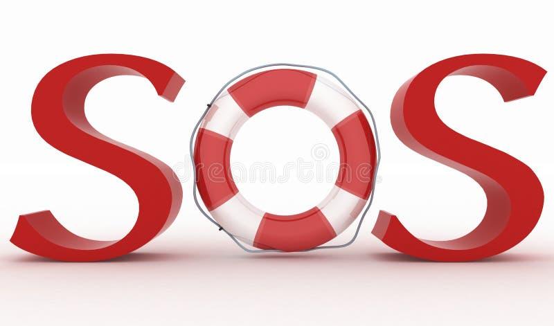 Κόκκινο SOS κειμένων με τη ζώνη ασφαλείας απεικόνιση αποθεμάτων