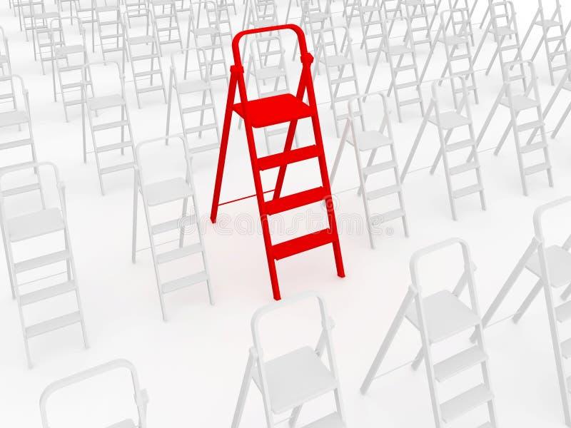 Κόκκινο stepladder απεικόνιση αποθεμάτων
