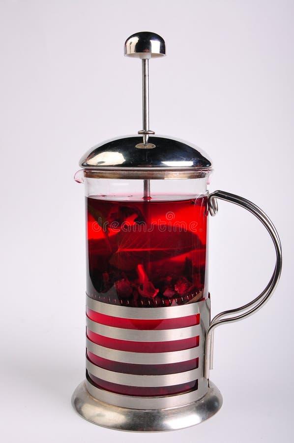 Κόκκινο teapot γαλλικά στο άσπρο υπόβαθρο στοκ εικόνες