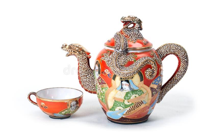 κόκκινο teapot φλυτζανιών στοκ εικόνα με δικαίωμα ελεύθερης χρήσης