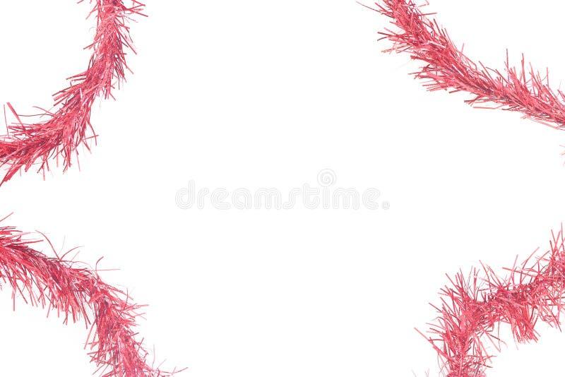 Κόκκινο tinsel πλαίσιο στοκ φωτογραφία