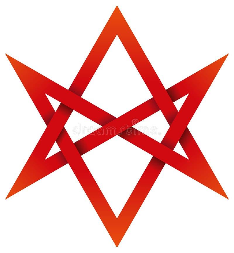 Κόκκινο Unicursal Hexagram τρισδιάστατο διανυσματική απεικόνιση