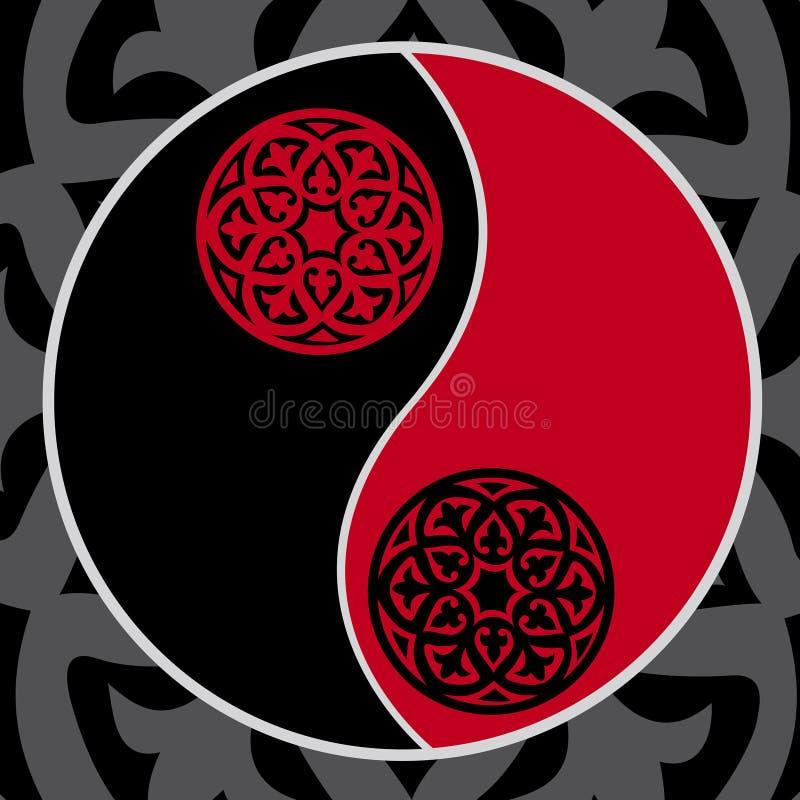 κόκκινο yang yin διανυσματική απεικόνιση