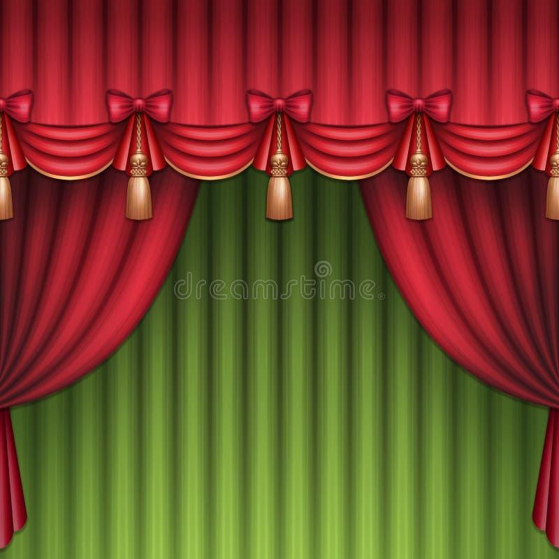 Κόκκινων και πράσινων θεάτρων ή τσίρκων κουρτίνες υποβάθρου Χριστουγέννων, διανυσματική απεικόνιση