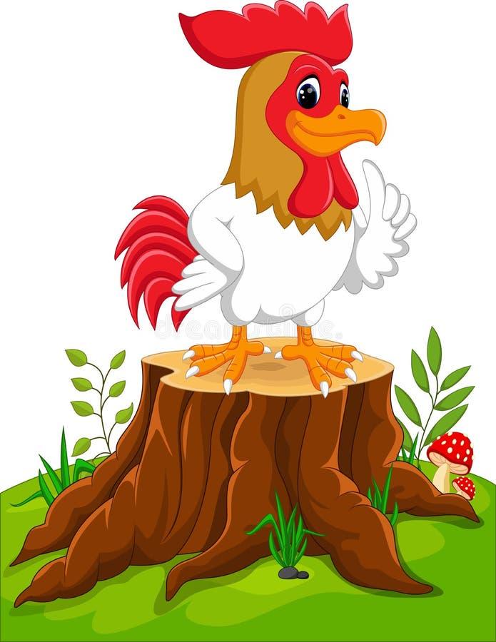 Κόκκορας κοτόπουλου κινούμενων σχεδίων ελεύθερη απεικόνιση δικαιώματος