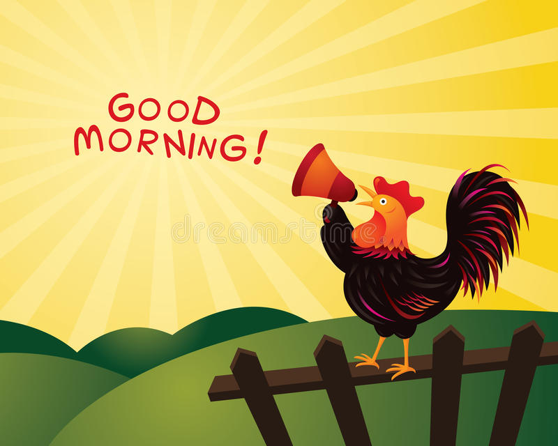 Κόκκορας που λαλά και που αναγγέλλει με Megaphone, καλημέρα στοκ φωτογραφία με δικαίωμα ελεύθερης χρήσης