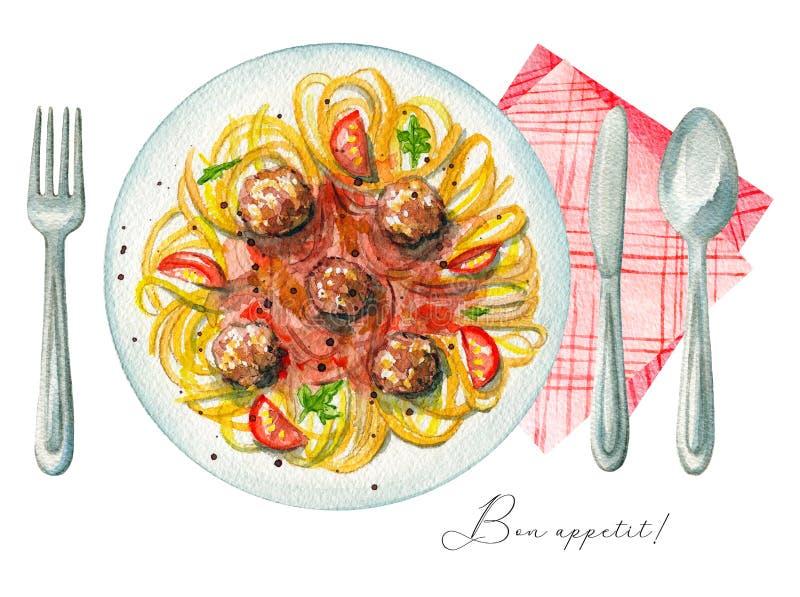 Κόλλα carbonara Watercolor σε ένα πιάτο, μαχαιροπήρουνα και μια πετσέτα διανυσματική απεικόνιση