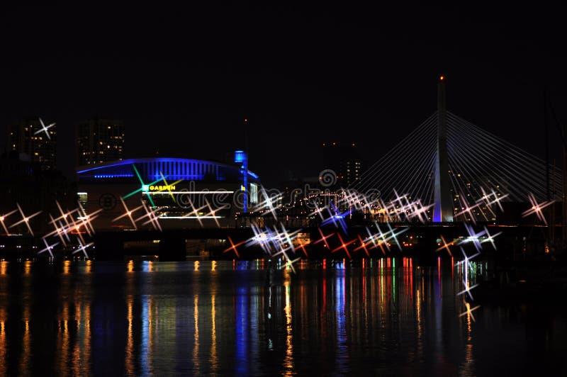 Κόλπος και γέφυρα Zakim στη Βοστώνη, στοκ φωτογραφίες