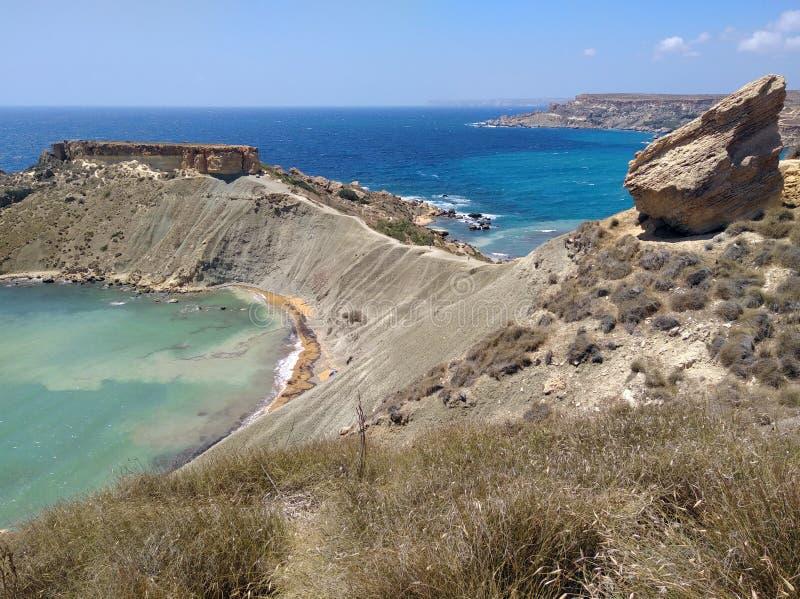 Κόλπος Μάλτα Tuffieha Ghajn στοκ φωτογραφία με δικαίωμα ελεύθερης χρήσης