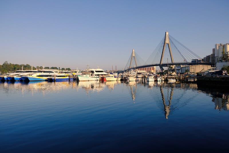 Κόλπος Blackwattle και η γέφυρα Anzac, λιμάνι του Σίδνεϊ, Αυστραλία στοκ εικόνες
