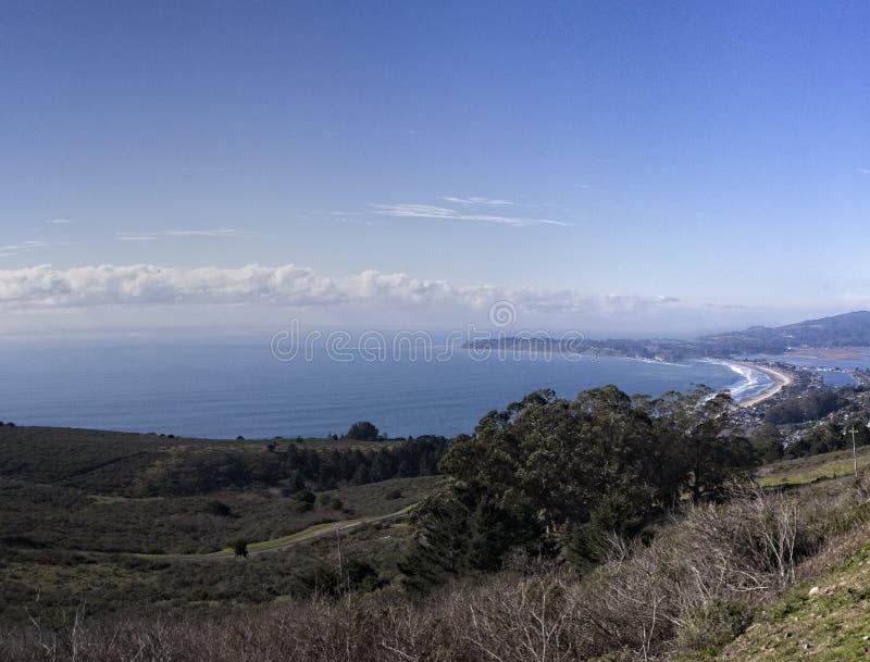 Κόλπος Bolinas και παραλία Stenson από την εθνική οδό Panaromic στοκ εικόνες