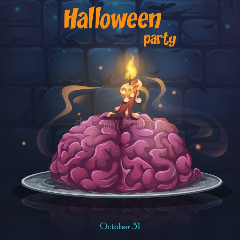 Κόμμα αποκριών - εγκέφαλοι στο πιάτο διανυσματική απεικόνιση