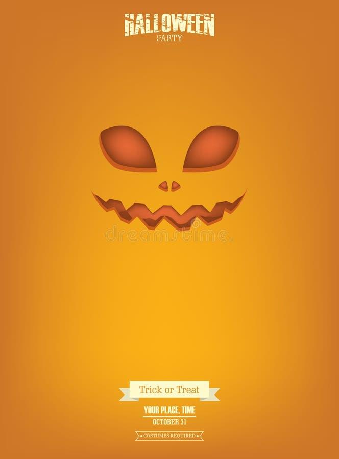 Κόμμα αποκριών Editable με τη τρομακτική αφίσα προσώπου τρομακτικής κολοκύθας φανάρι ο γρύλων απεικόνιση αποθεμάτων