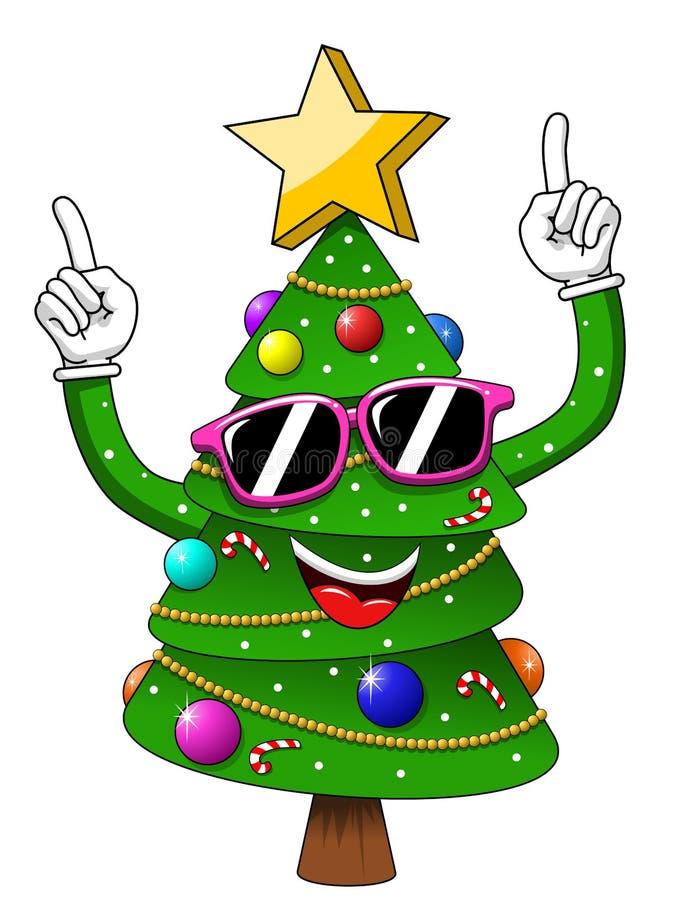 Κόμμα γυαλιών ηλίου χαρακτήρα μασκότ χριστουγεννιάτικων δέντρων Χριστουγέννων που απομονώνεται απεικόνιση αποθεμάτων