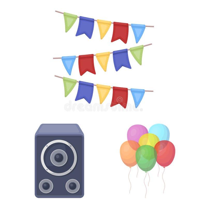 Κόμμα, εικονίδια κινούμενων σχεδίων ψυχαγωγίας στην καθορισμένη συλλογή για το σχέδιο Ο εορτασμός και μεταχειρίζεται το διανυσματ απεικόνιση αποθεμάτων